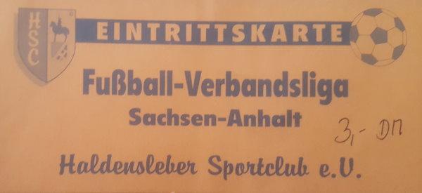 Eintrittskarte vom Auswärtsspiel in Haldensleben.