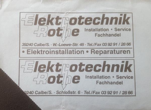 """Die Rückseite der Eintrittskarte mit dem Sponsor """"Elektrotechnik Rothe""""."""