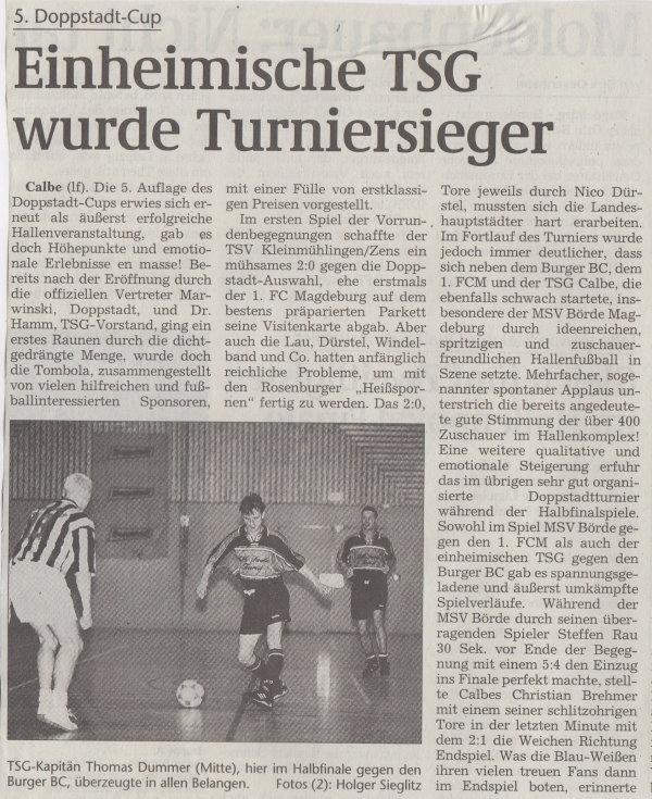 Volksstimme-Bericht vom 5. Doppstadt-Cup im Jahr 2000 (Teil 1).