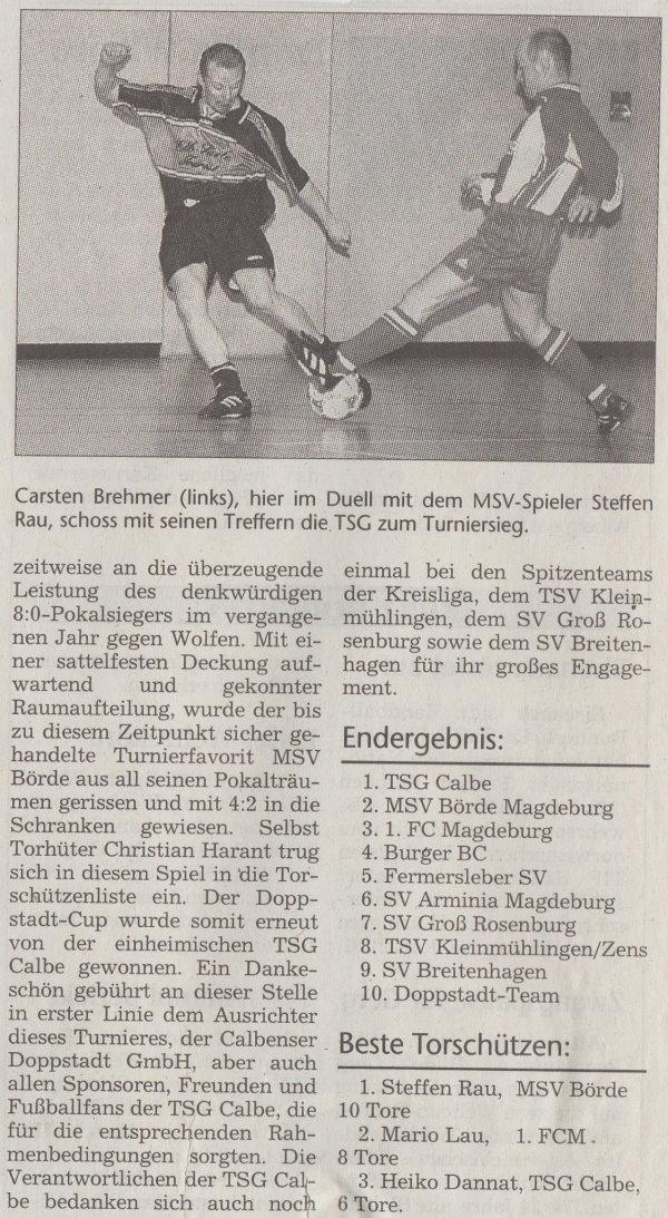 Volksstimme-Bericht vom 5. Doppstadt-Cup im Jahr 2000 (Teil 2).