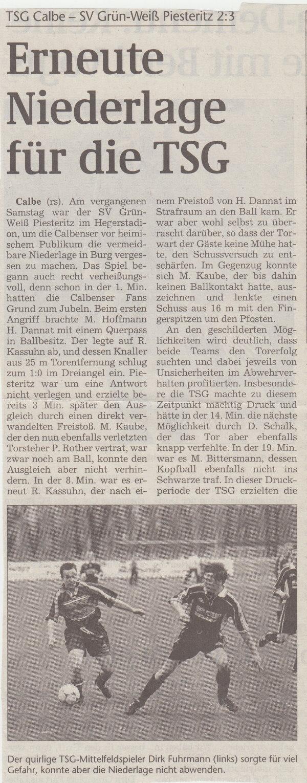 Volksstimme-Artikel zum Spiel gegen Piesteritz (Teil 1).