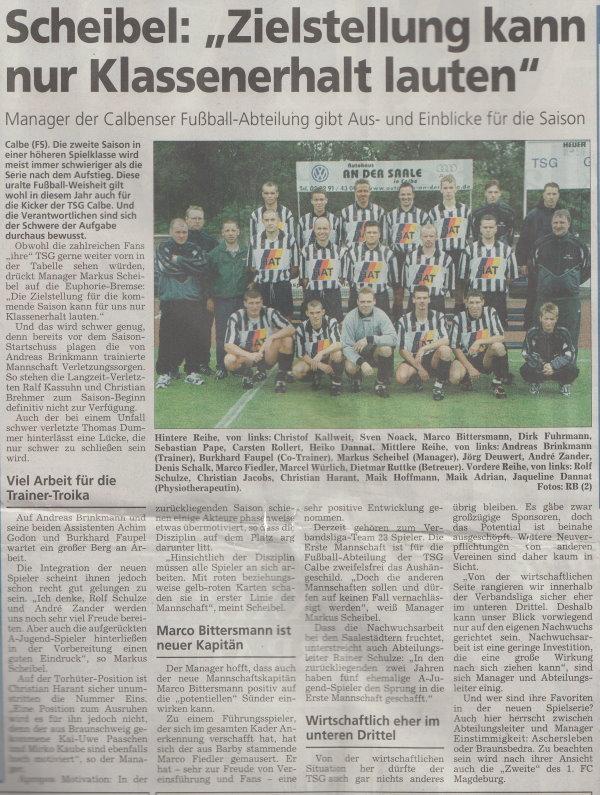 Volksstimme-Sonderseite zum Start der Verbandsligasaison 2000/2001.