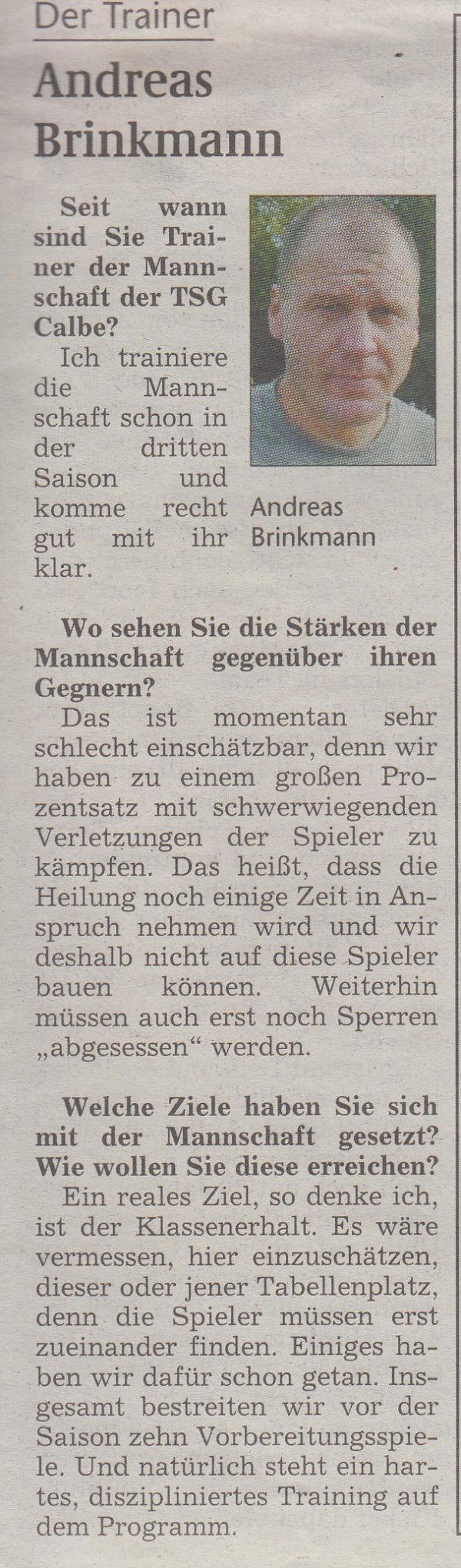 Volksstimme-Sonderausgabe (Interview mit Andreas Brinkmann).