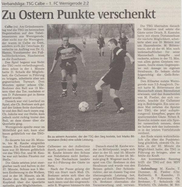 Volksstimme-Artikel zum Spiel gegen den 1. FC Wernigerode (Teil 1).
