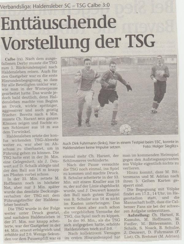 Volksstimme-Artikel zum Spiel vom 10. Februar 2001.