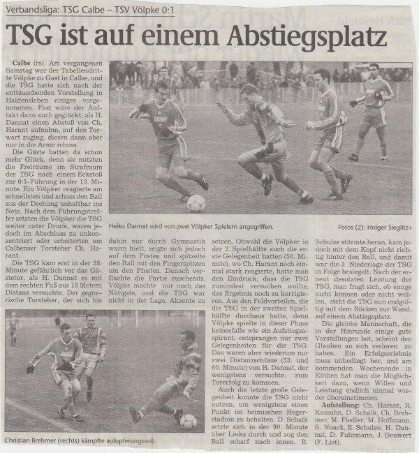 Volksstimme-Artikel zum Spiel vom 17. Februar 2001.
