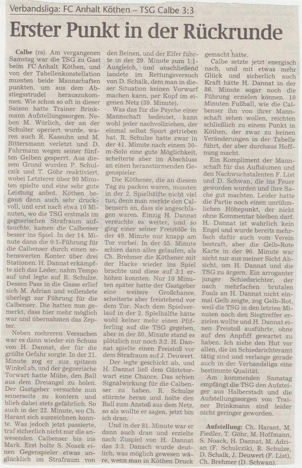 Volksstimme-Artikel zum Spiel vom 24. Februar 2001.
