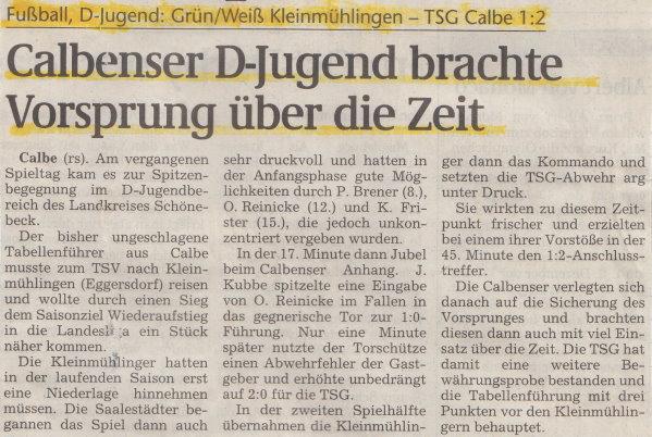 Volksstimme-Bericht zum Sieg gegen den TSV Kleinmühlingen/Zens.