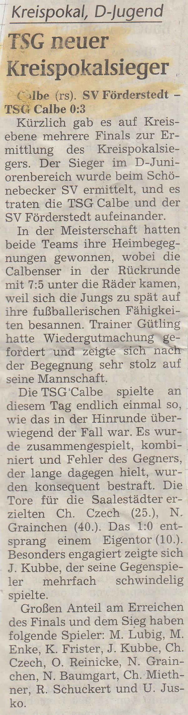 Spielbericht vom Kreispokalfinale der D-Jugend.