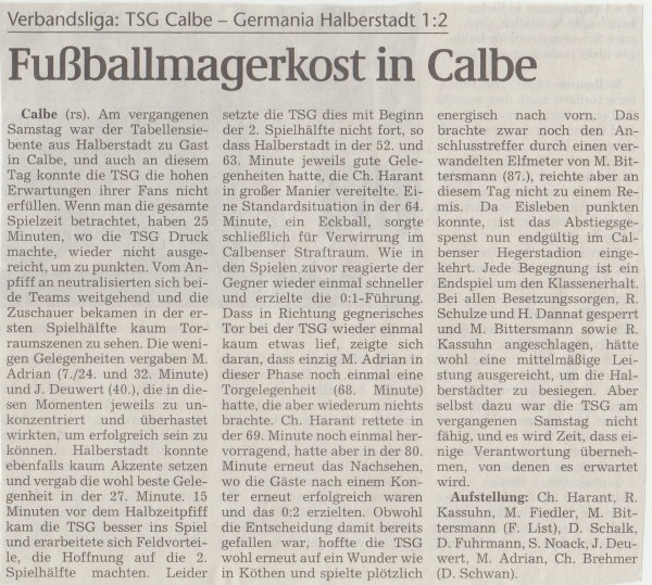 Volksstimme-Artikel zum Spiel vom 03. März 2001.