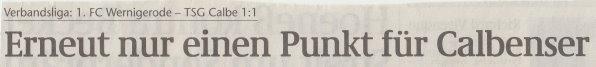 Volksstimme-Artikel zum Spiel vom 10. März 2001 (Überschrift).