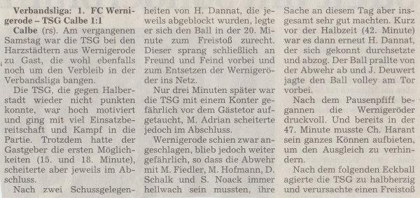 Volksstimme-Artikel zum Spiel vom 10. März 2001 (Teil 1).