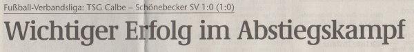 Volksstimme-Artikel zum Spiel vom 24. März 2001 (Überschrift).