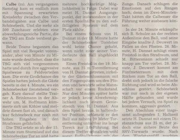 Volksstimme-Artikel zum Spiel vom 24. März 2001 (Teil 1).