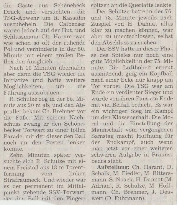 Volksstimme-Artikel zum Spiel vom 24. März 2001 (Teil 2).