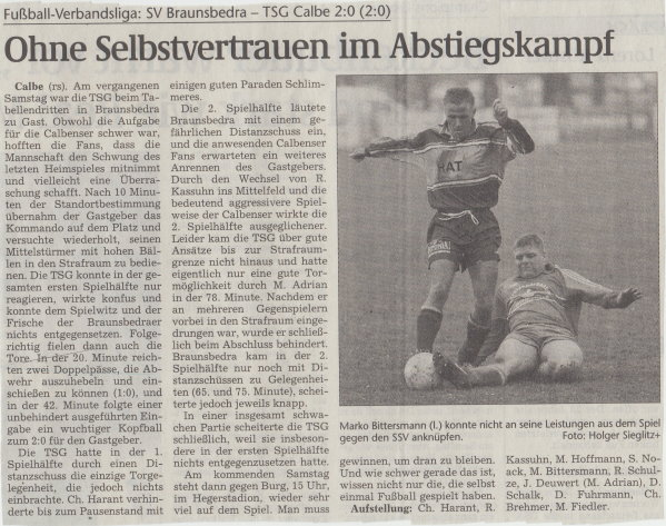 Volksstimme-Artikel zum Spiel vom 30. März 2001.