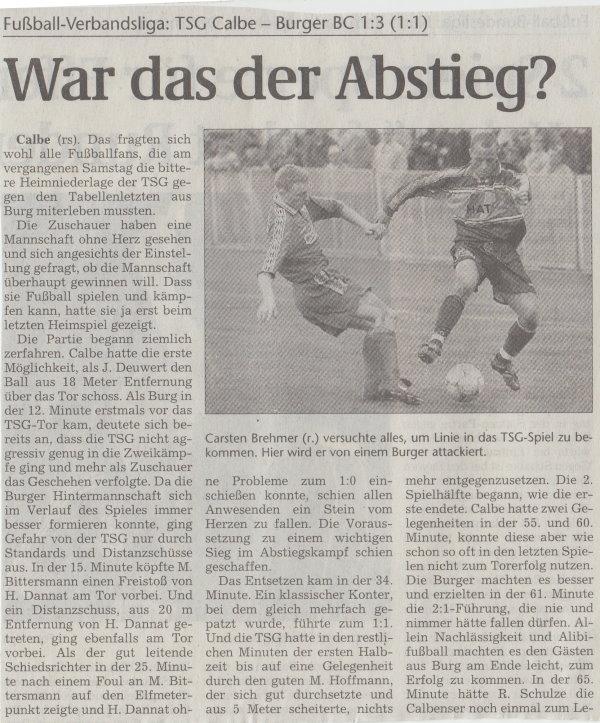 Volksstimme-Artikel zum Spiel vom 07. April 2001 (Teil 1).