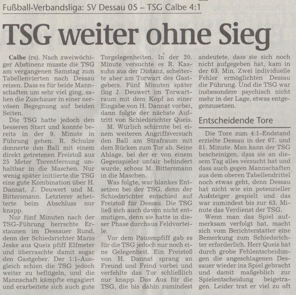 Volksstimme-Artikel zum Spiel vom 02. Mai 2001 (Teil 1).