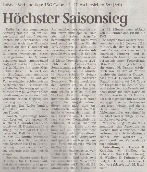 Volksstimme-Artikel zum Spiel vom 08. Mai 2001 (Teil 1).