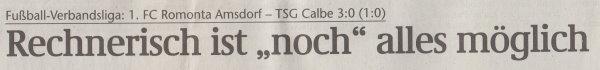 Volksstimme-Artikel zum Spiel vom 15. Mai 2001 (Überschrift).