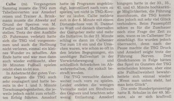 Volksstimme-Artikel zum Spiel vom 15. Mai 2001 (Teil 1).