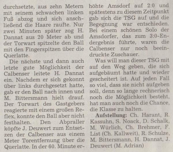 Volksstimme-Artikel zum Spiel vom 15. Mai 2001 (Teil 2).