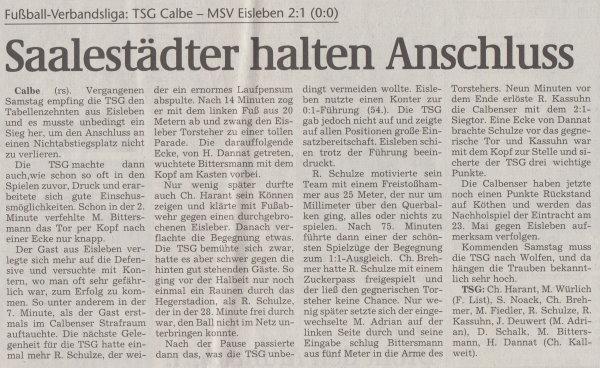 Volksstimme-Artikel zum Spiel vom 22. Mai 2001.