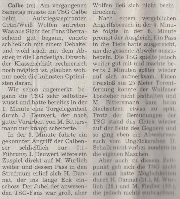 Volksstimme-Artikel vom 29. Mai 2001 (Teil 1).