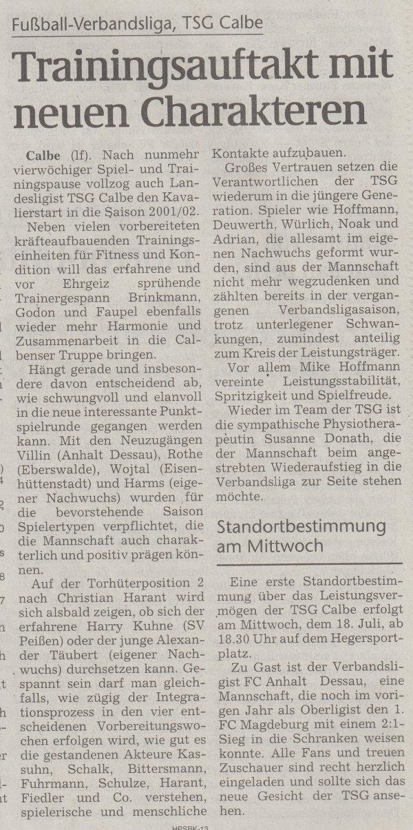 Volksstimme-Artikel vom 18. Juli 2001.