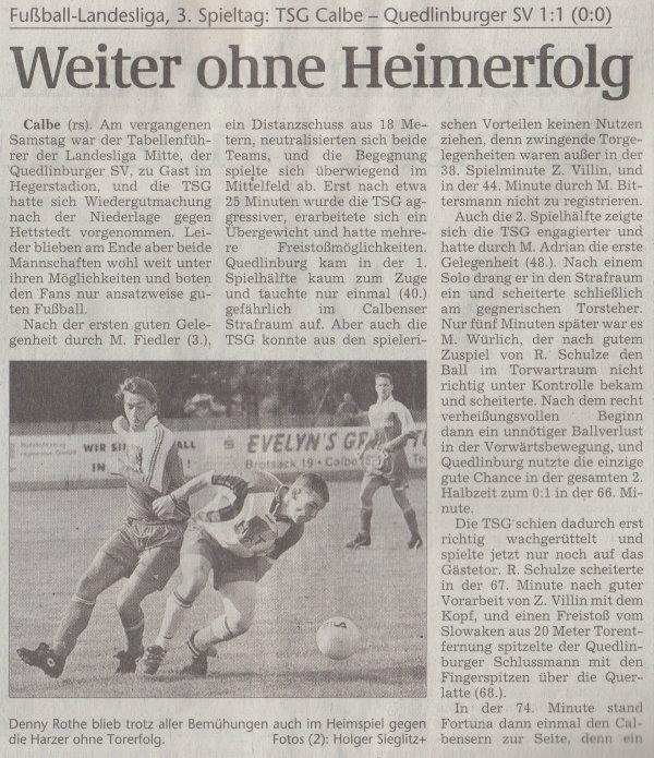 Volksstimme-Artikel vom 09. September 2001 (Teil 1).