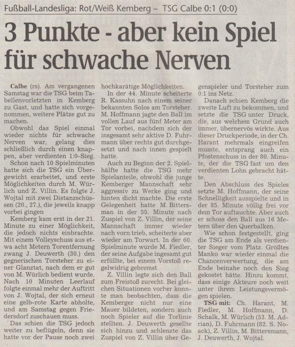 Volksstimme-Artikel vom 25. September 2001.