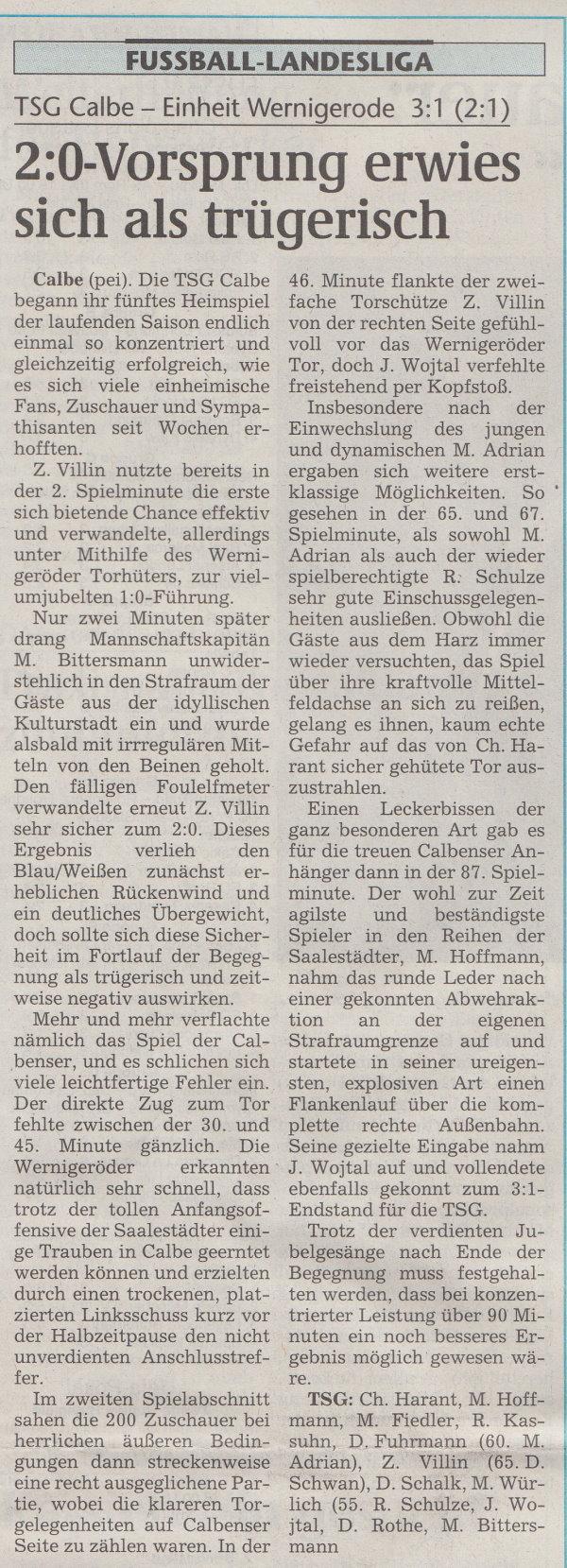 Volksstimme-Artikel vom 16. Oktober 2001.