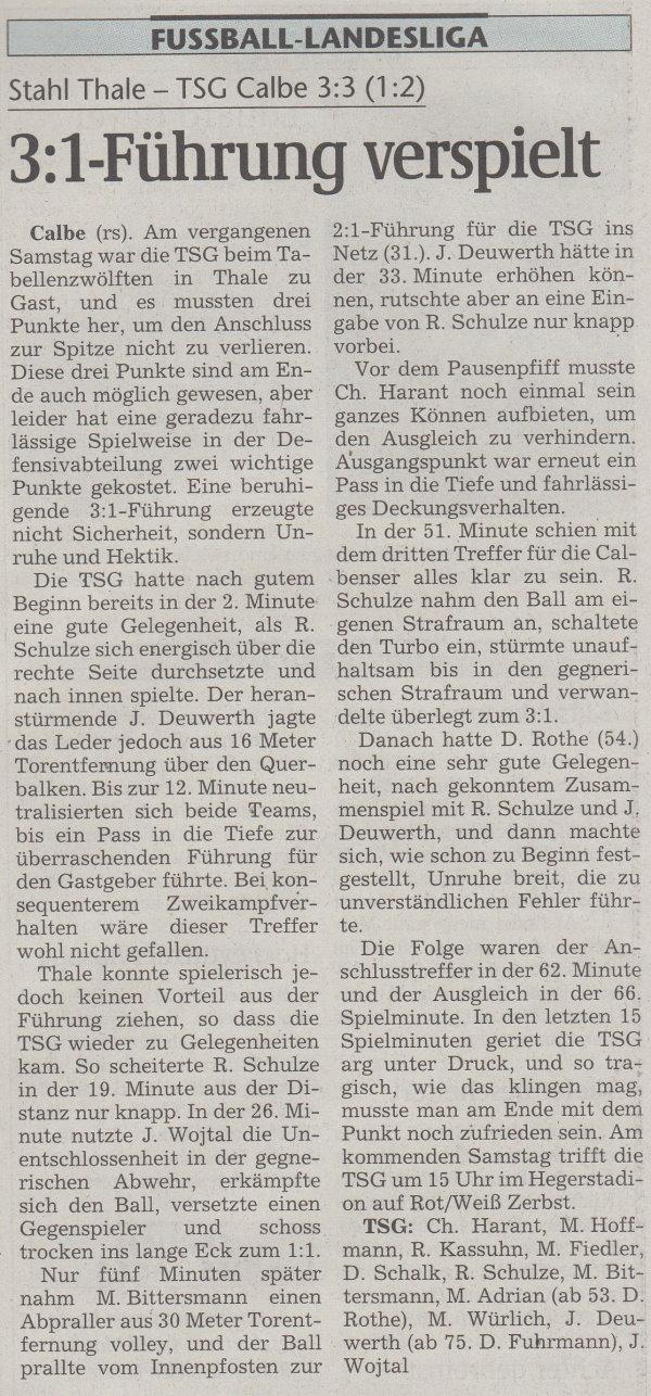 Volksstimme-Artikel vom 23. Oktober 2001.
