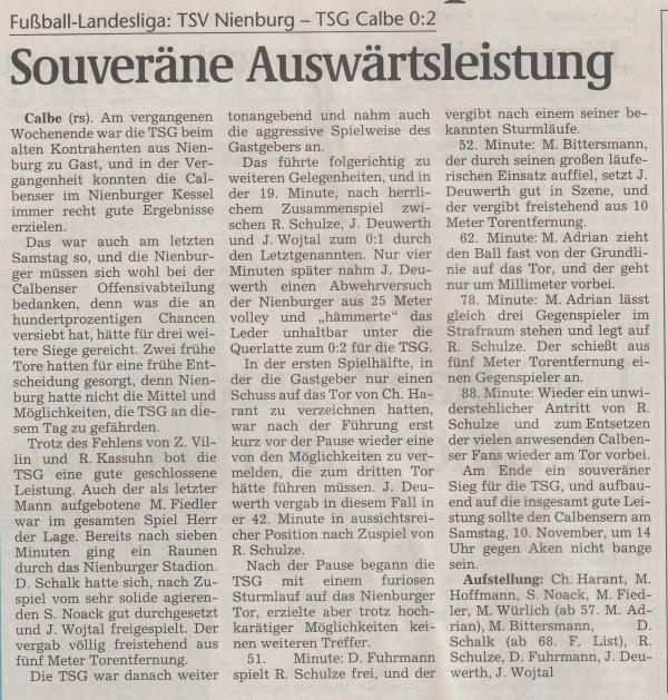 Volksstimme-Artikel vom 06. November 2001.