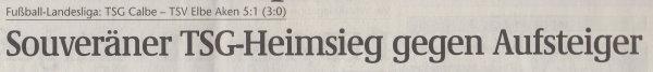 Volksstimme-Artikel vom 13. November 2001 (Überschrift).