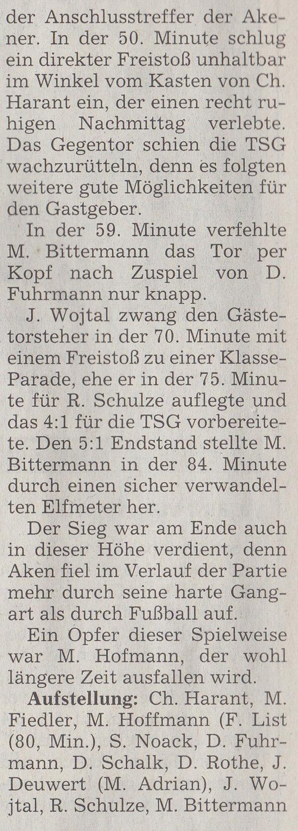 Volksstimme-Artikel vom 13. November 2001 (Teil 2).