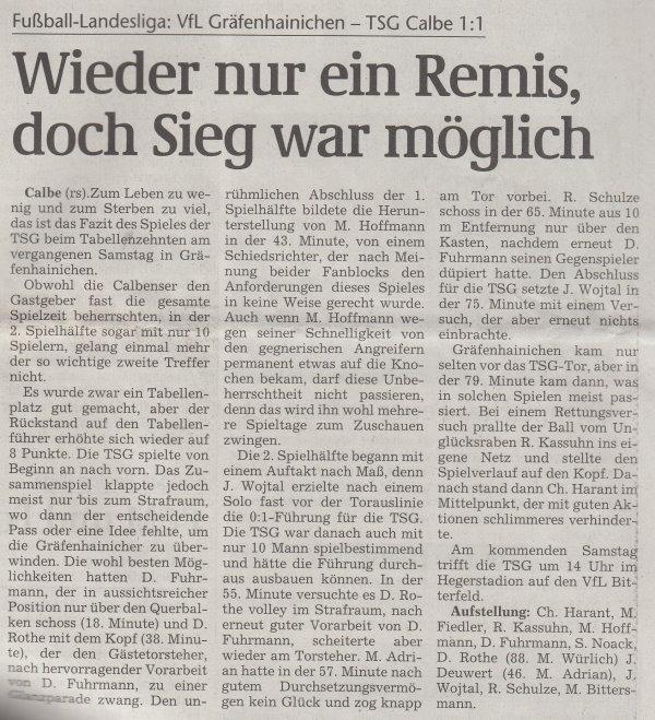 Volksstimme-Artikel vom 20. November 2001.