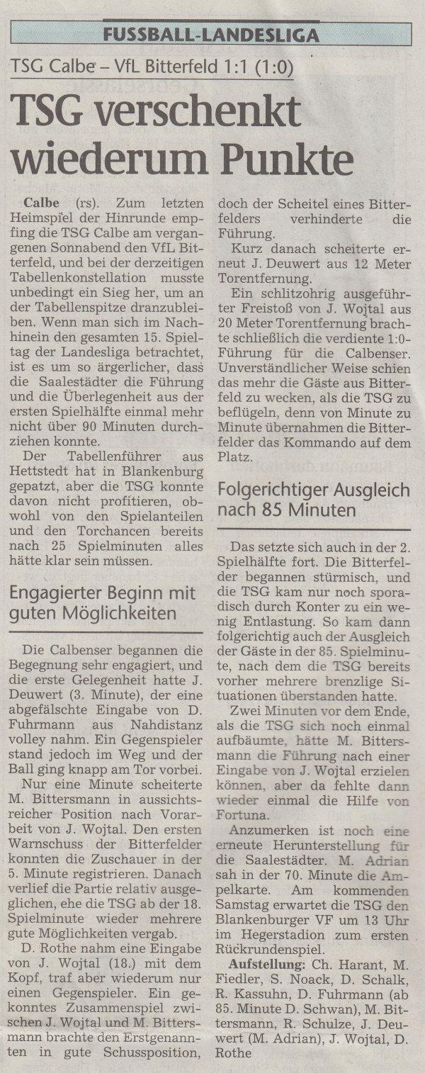 Volksstimme-Artikel vom 27. November 2001.