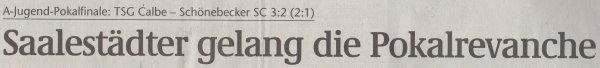 Überschrift des Volksstimme-Artikels vom 06. Juni 2001.