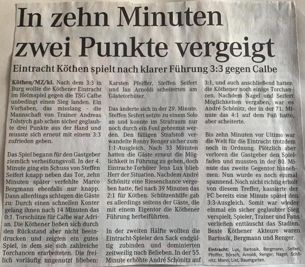 Spielbericht vom Rückspiel in Köthen vom 24. Februar 2001.