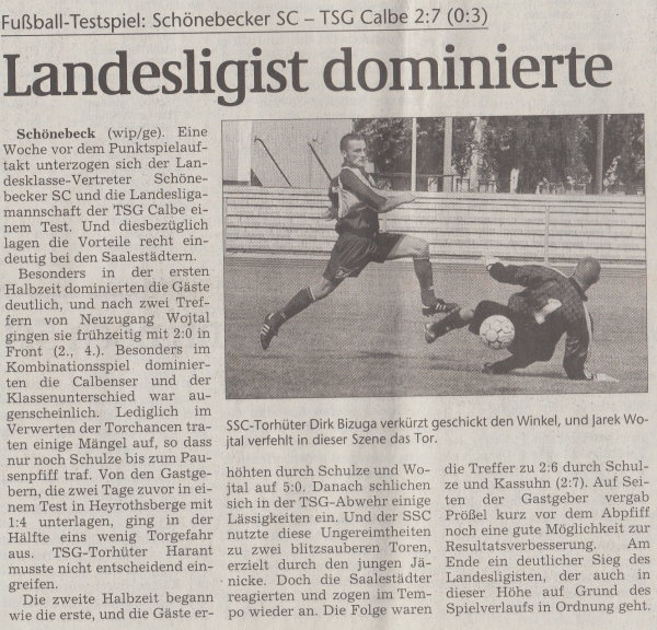 Volksstimme-Artikel vom 13. August 2001.