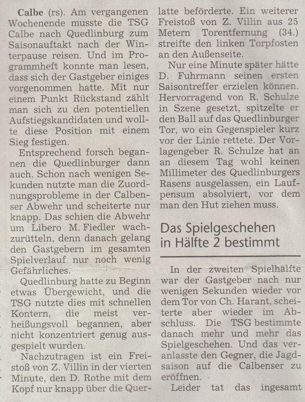 Volksstimme-Artikel vom 19. Februar 2002 (Teil 1).