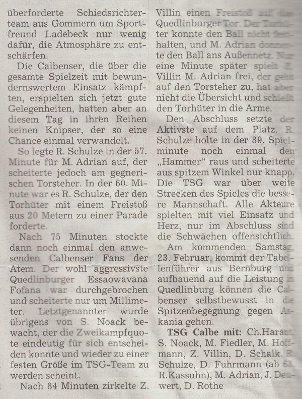 Volksstimme-Artikel vom 19. Februar 2002 (Teil 2).