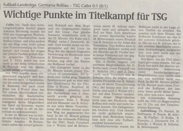 Volksstimme-Artikel vom 06. März 2002.