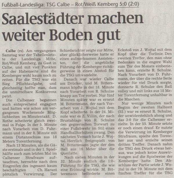Volksstimme-Artikel vom 12. März 2002 (Teil 1).