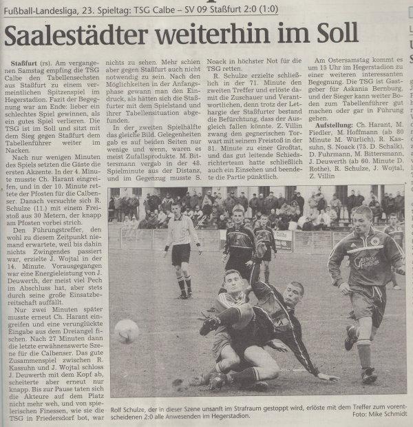 Volksstimme-Artikel vom 26. März 2002.