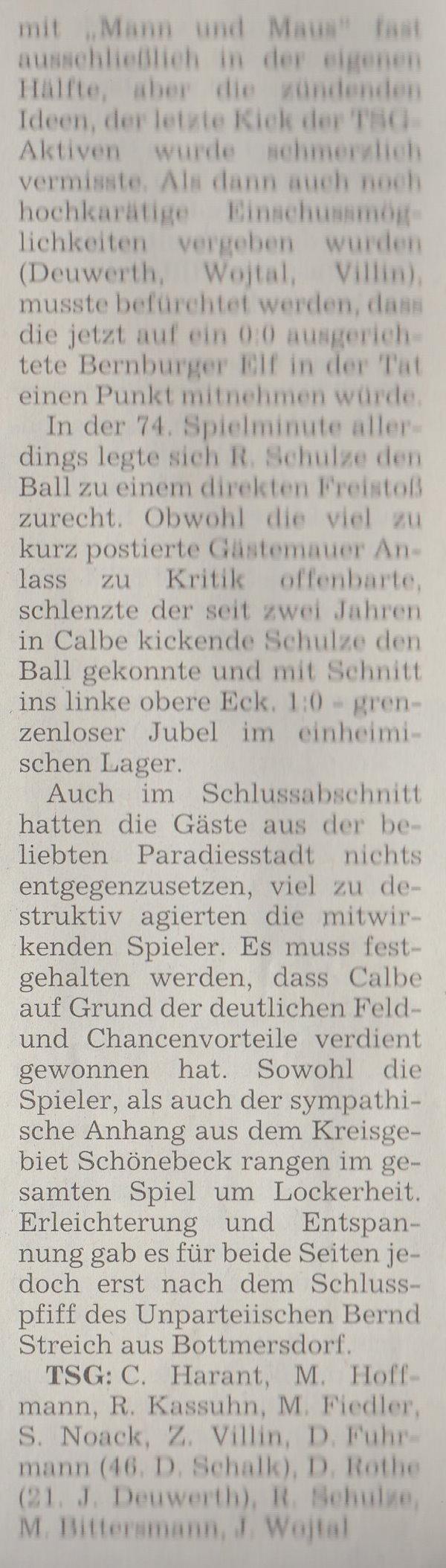 Volksstimme-Artikel vom 02. April 2002 (Teil 2).