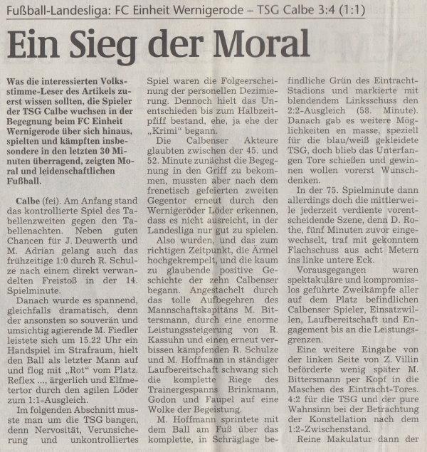 Volksstimme-Artikel vom 16. April 2002 (Teil 1).