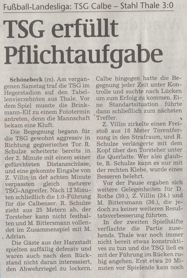 Volksstimme-Artikel vom 23. April 2002 (Teil 1).