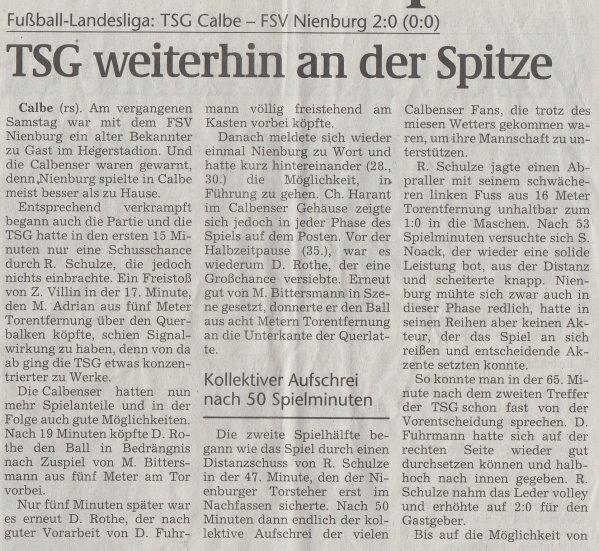 Volksstimme-Artikel vom 07. Mai 2002 (Teil 1).